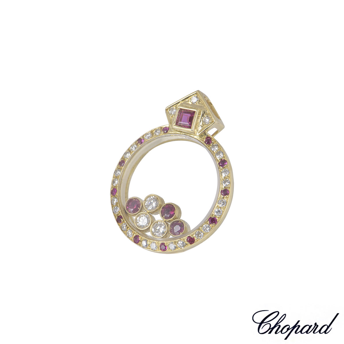 Chopard Yellow Gold Happy Diamond And Ruby Pendant